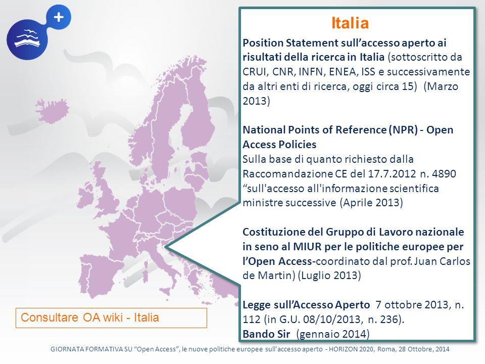 Position Statement sull'accesso aperto ai risultati della ricerca in Italia (sottoscritto da CRUI, CNR, INFN, ENEA, ISS e successivamente da altri enti di ricerca, oggi circa 15) (Marzo 2013)