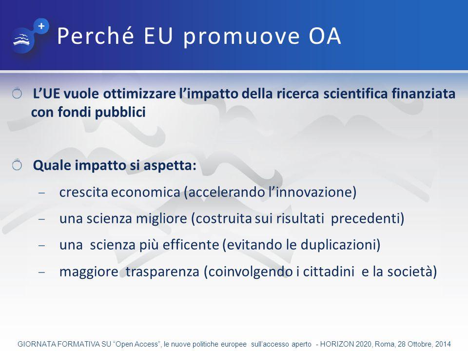 Perché EU promuove OA L'UE vuole ottimizzare l'impatto della ricerca scientifica finanziata con fondi pubblici.