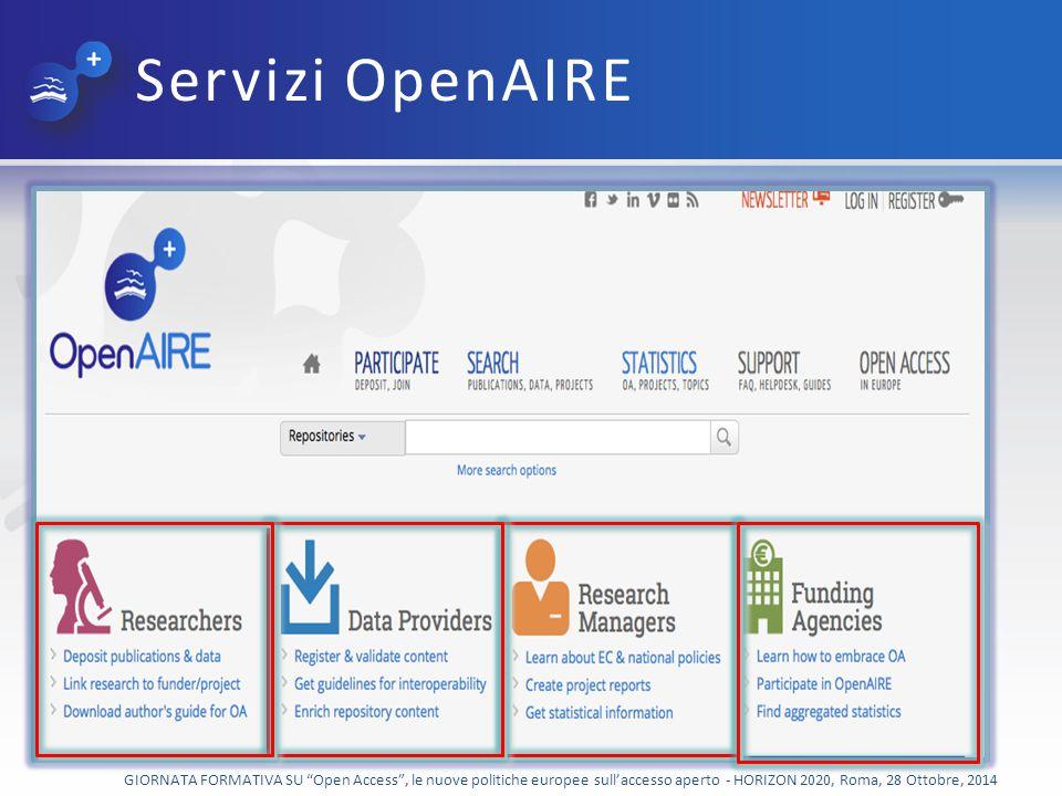 Servizi OpenAIRE GIORNATA FORMATIVA SU Open Access , le nuove politiche europee sull'accesso aperto - HORIZON 2020, Roma, 28 Ottobre, 2014.