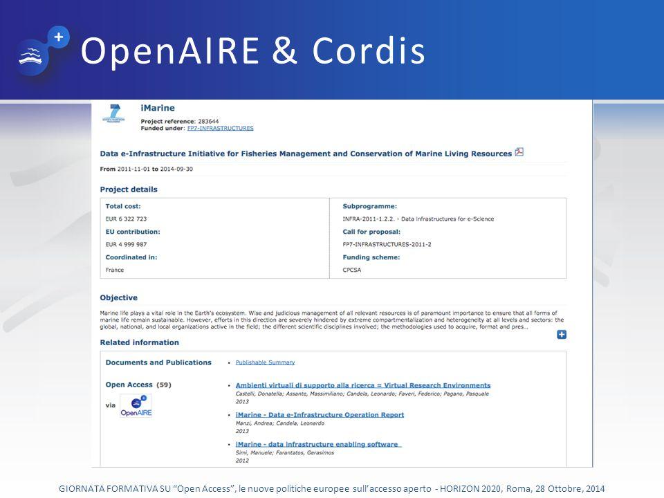 OpenAIRE & Cordis GIORNATA FORMATIVA SU Open Access , le nuove politiche europee sull'accesso aperto - HORIZON 2020, Roma, 28 Ottobre, 2014.