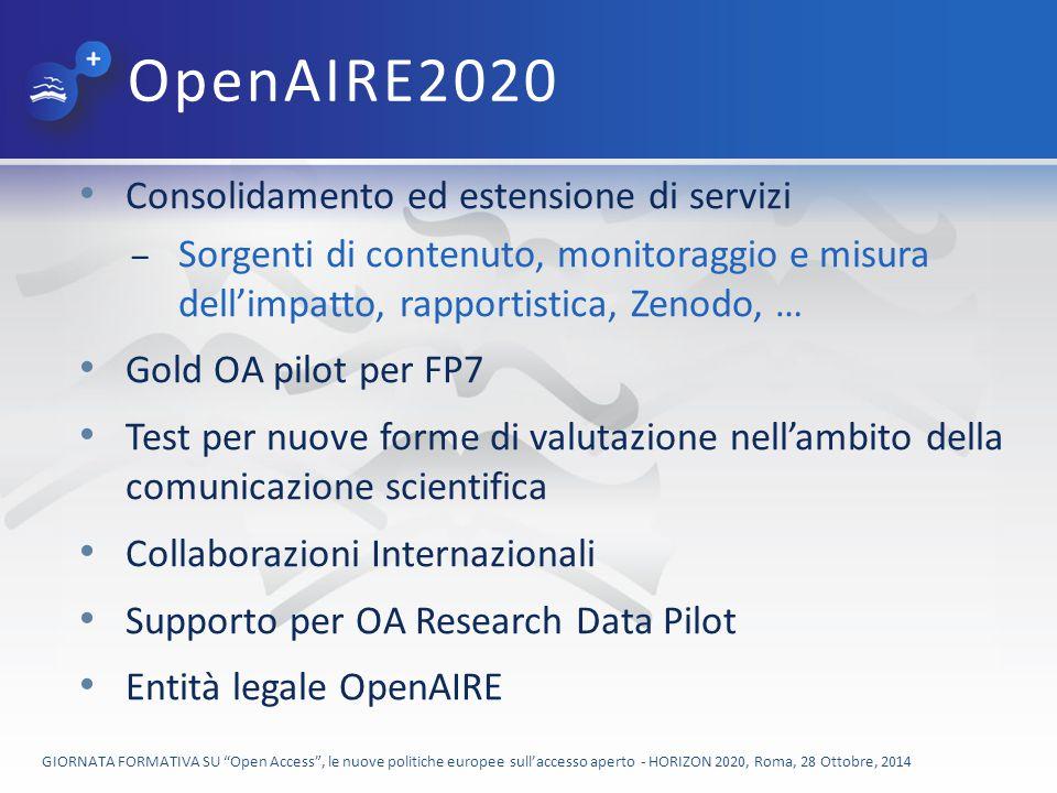 OpenAIRE2020 Consolidamento ed estensione di servizi