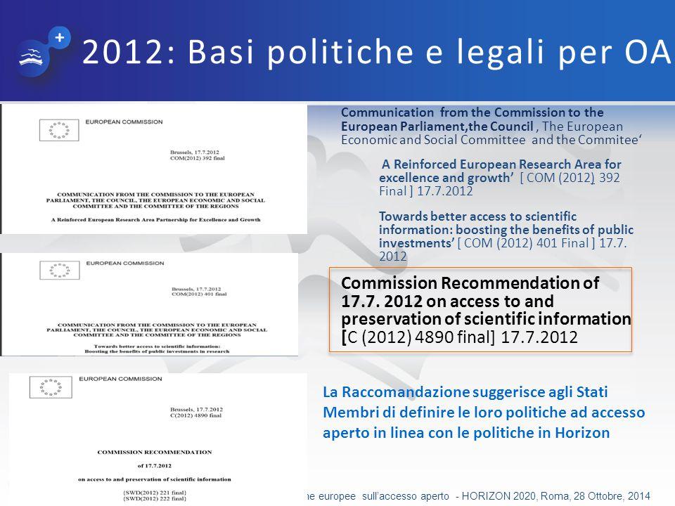 2012: Basi politiche e legali per OA