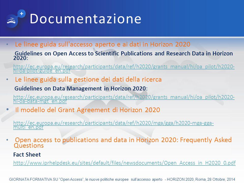 Documentazione Il modello del Grant Agreement di Horizon 2020