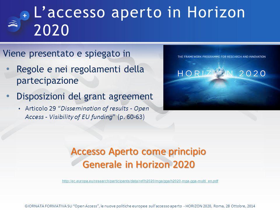 L'accesso aperto in Horizon 2020