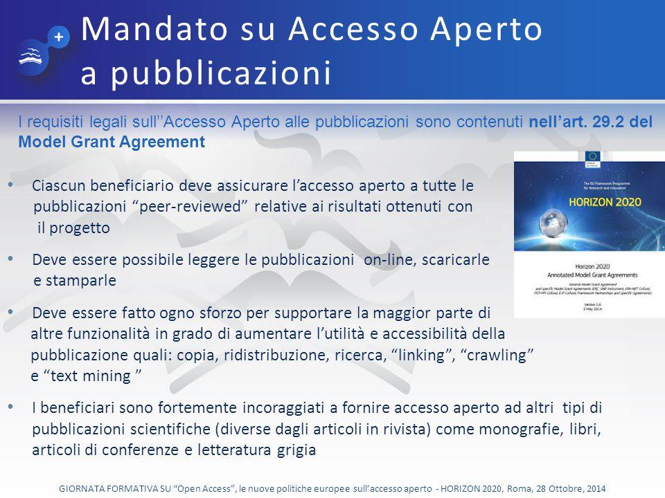 Mandato su Accesso Aperto a pubblicazioni