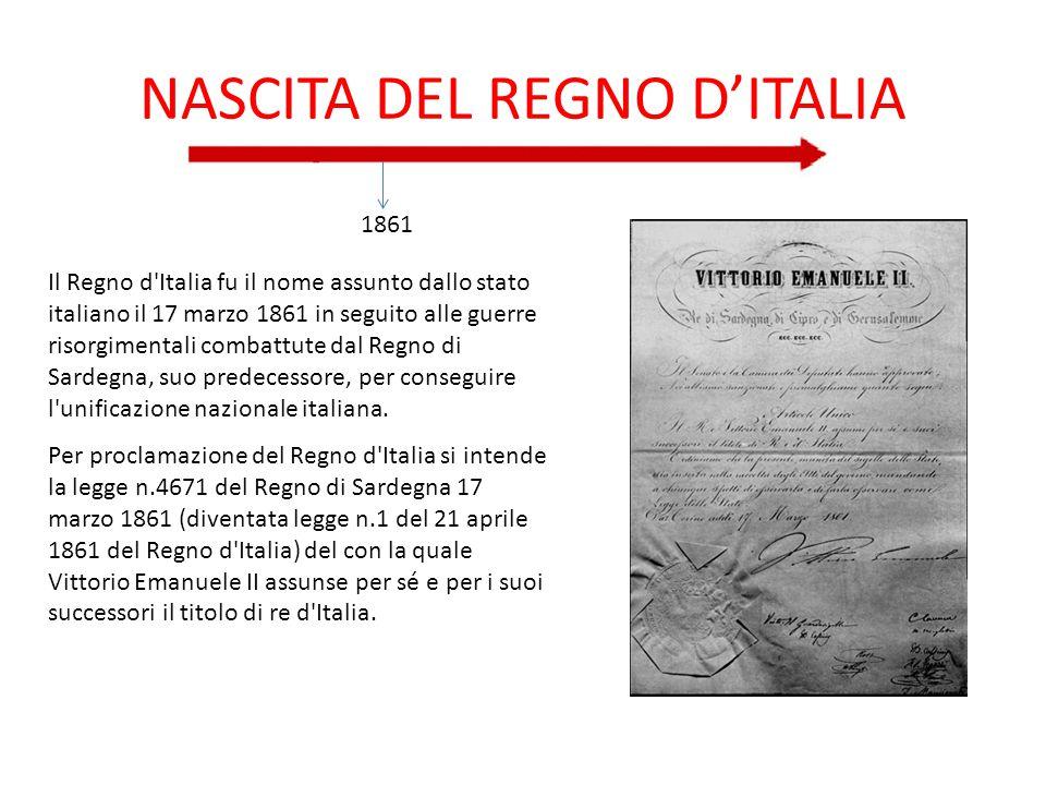 NASCITA DEL REGNO D'ITALIA