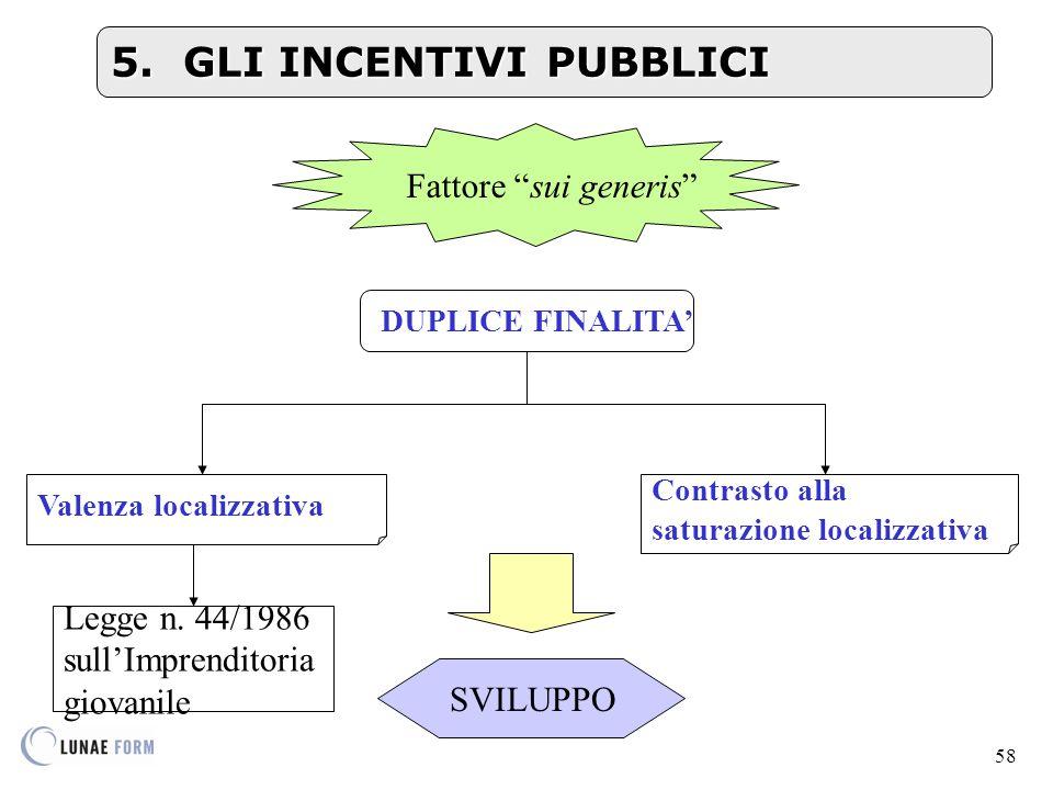 5. GLI INCENTIVI PUBBLICI