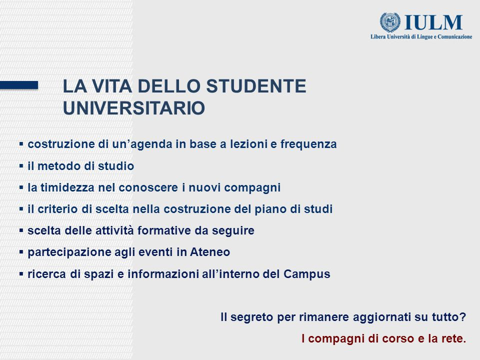 La vita dello studente universitario