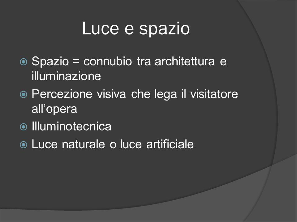 Luce e spazio Spazio = connubio tra architettura e illuminazione