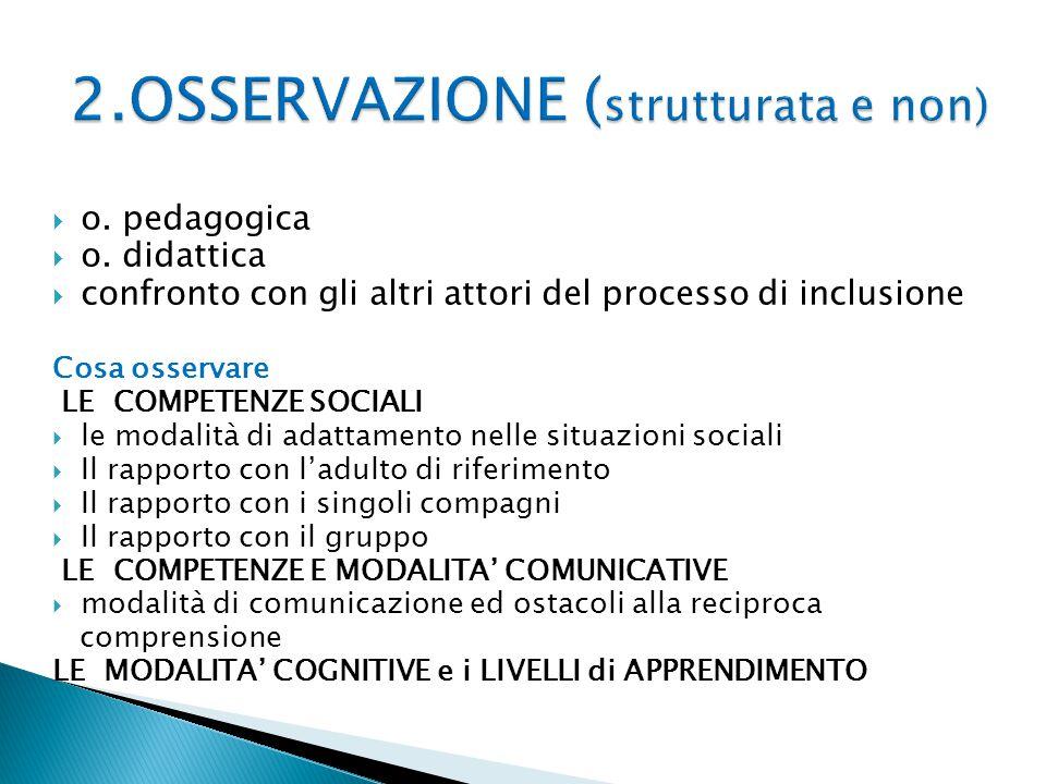 2.OSSERVAZIONE (strutturata e non)