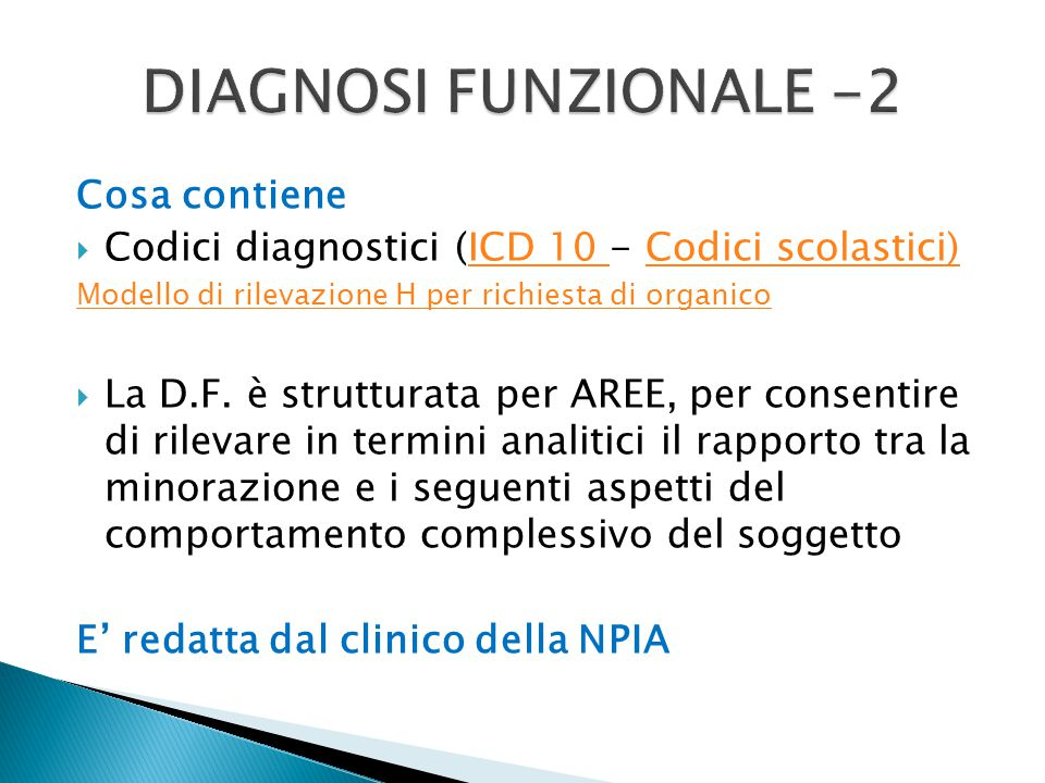 DIAGNOSI FUNZIONALE -2 Cosa contiene
