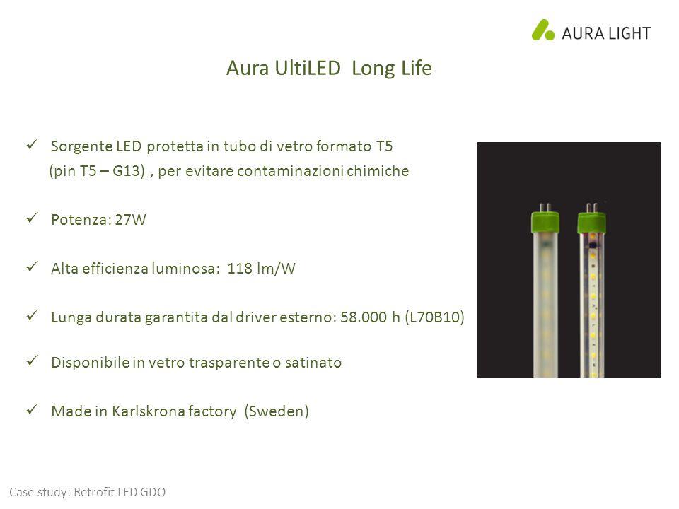 Aura UltiLED Long Life Sorgente LED protetta in tubo di vetro formato T5. (pin T5 – G13) , per evitare contaminazioni chimiche.