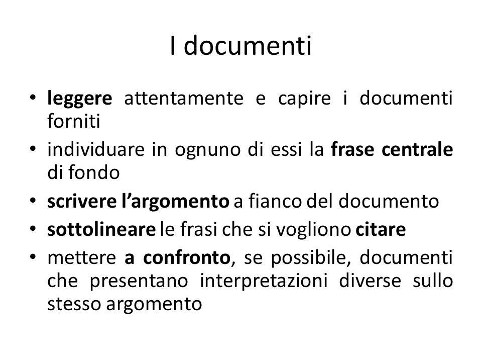 I documenti leggere attentamente e capire i documenti forniti