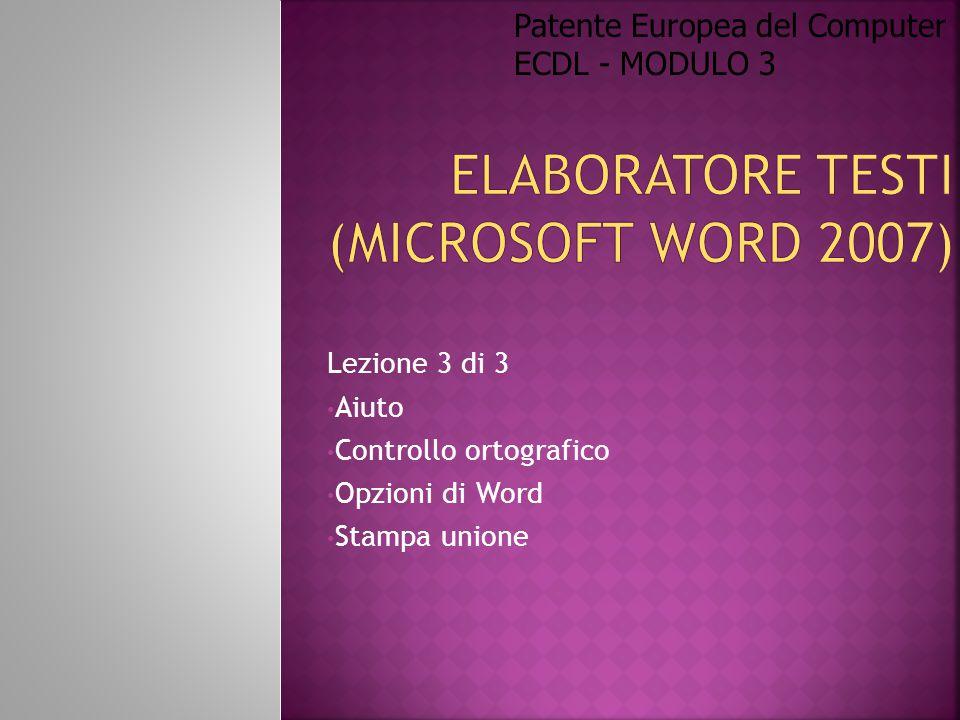 Elaboratore Testi (Microsoft Word 2007)