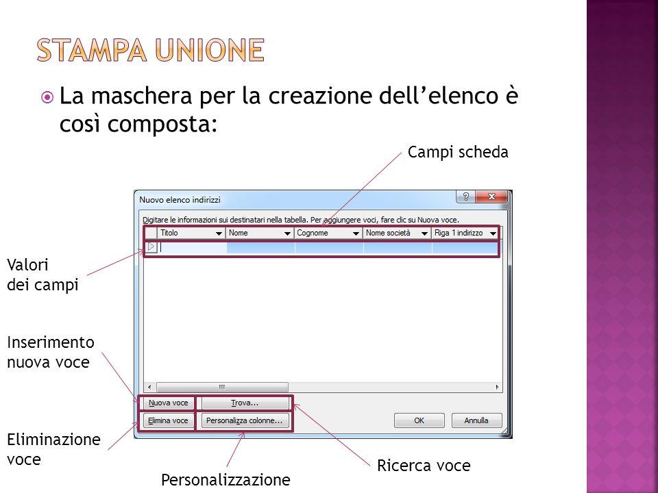 Stampa unione La maschera per la creazione dell'elenco è così composta: Campi scheda. Valori dei campi.