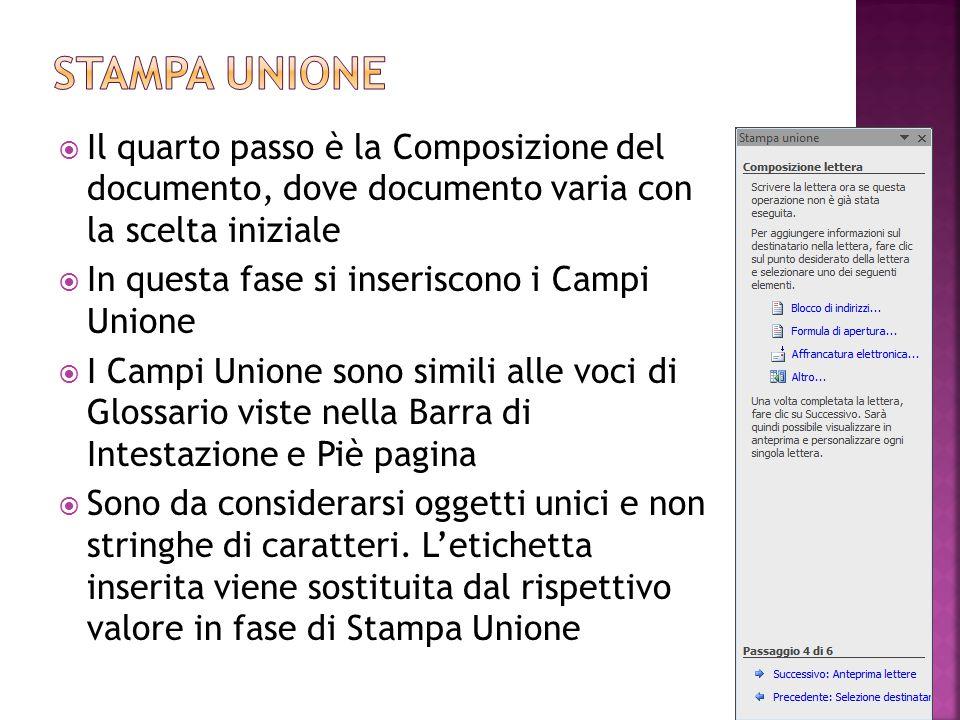 Stampa unione Il quarto passo è la Composizione del documento, dove documento varia con la scelta iniziale.