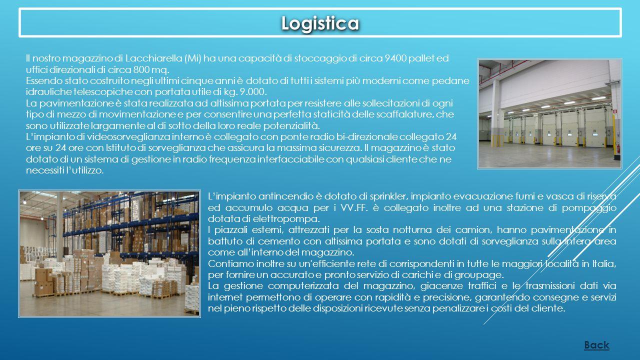 Logistica Il nostro magazzino di Lacchiarella (Mi) ha una capacità di stoccaggio di circa 9400 pallet ed uffici direzionali di circa 800 mq.