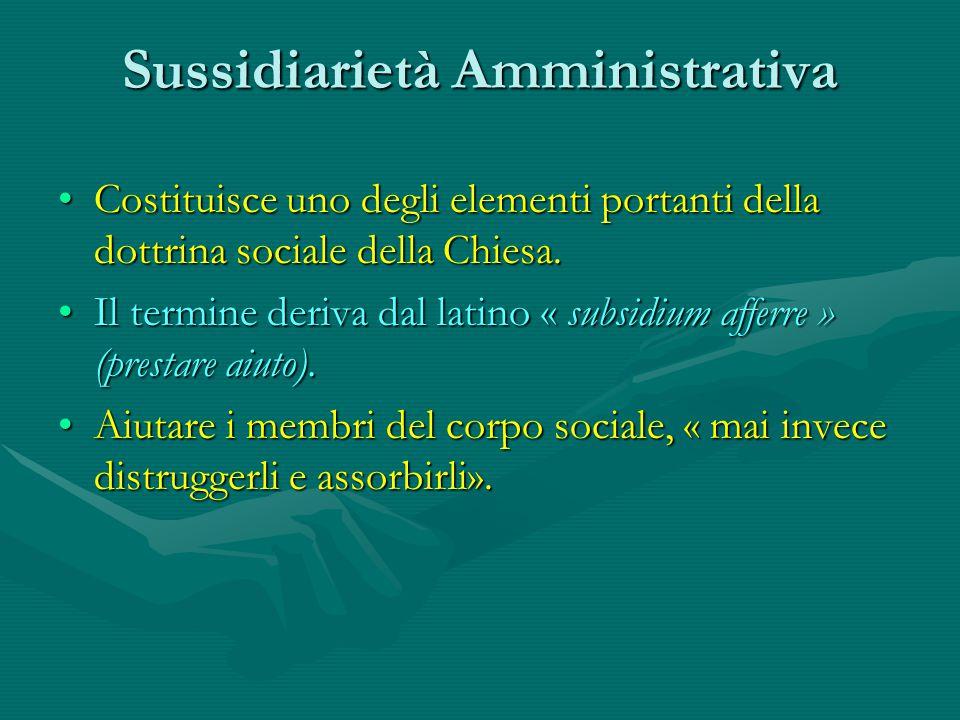 Sussidiarietà Amministrativa