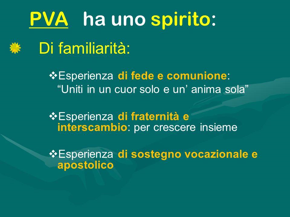 PVA ha uno spirito: Di familiarità: Esperienza di fede e comunione: