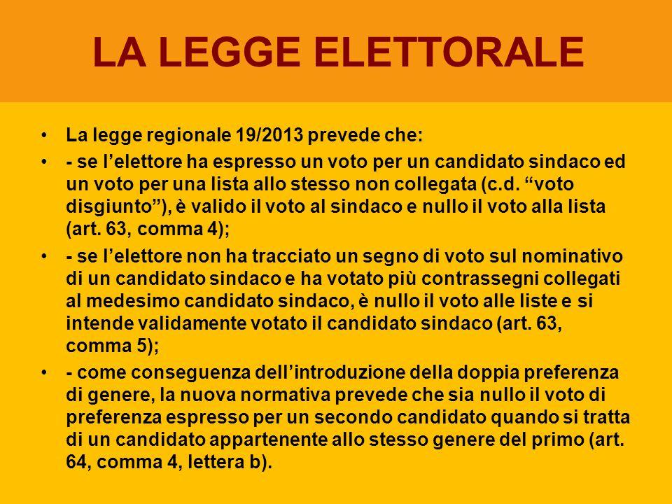 LA LEGGE ELETTORALE La legge regionale 19/2013 prevede che: