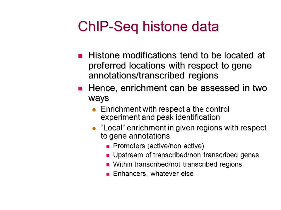 ChIP-Seq histone data Histone modifications tend to be located at preferred locations with respect to gene annotations/transcribed regions.