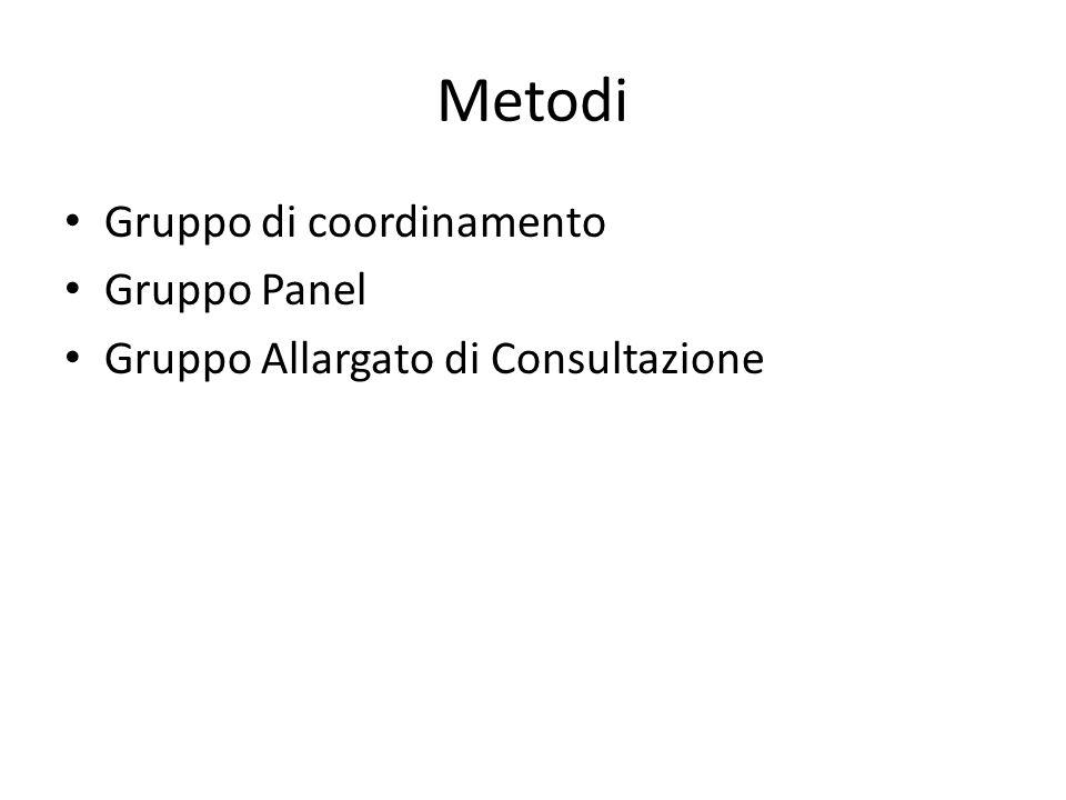 Metodi Gruppo di coordinamento Gruppo Panel