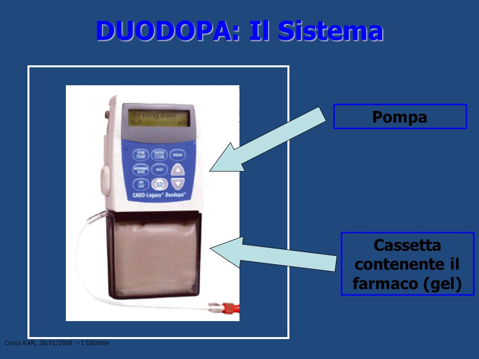Cassetta contenente il farmaco (gel)