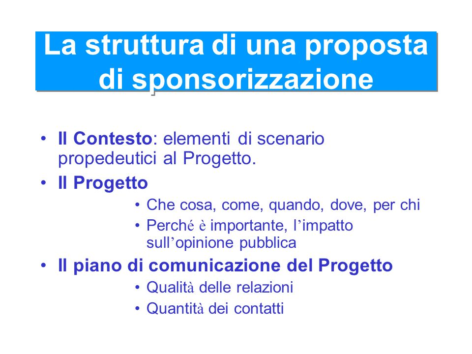 La struttura di una proposta di sponsorizzazione