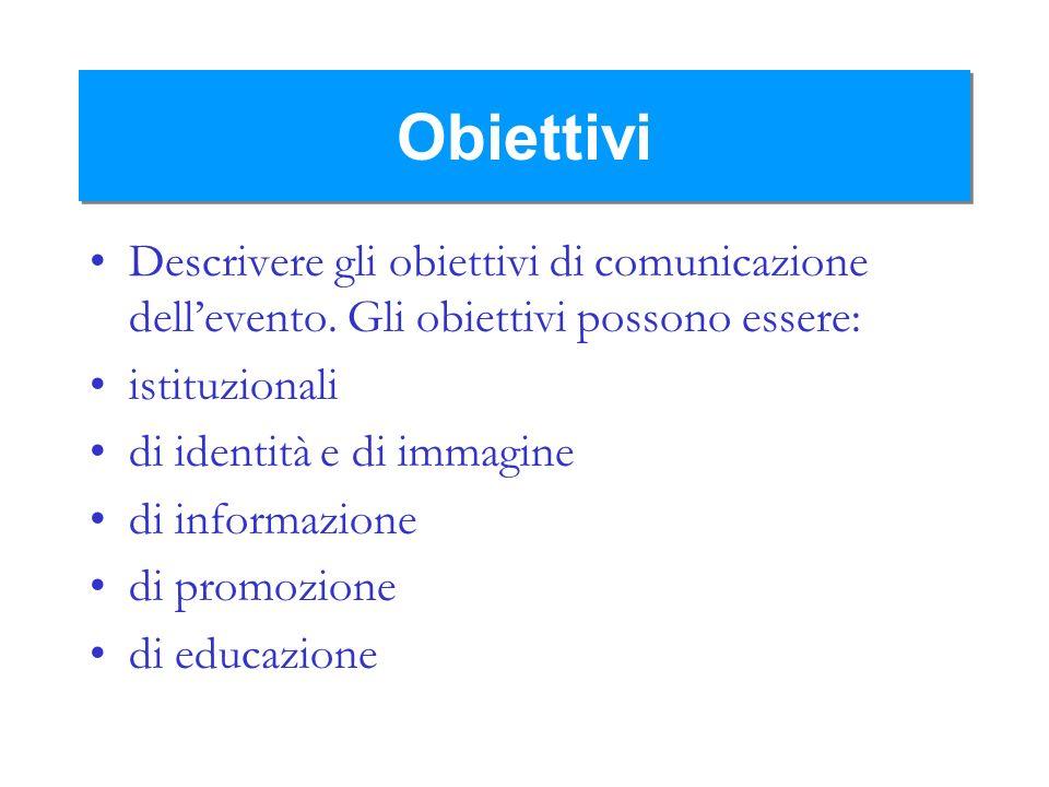 Obiettivi Descrivere gli obiettivi di comunicazione dell'evento. Gli obiettivi possono essere: istituzionali.