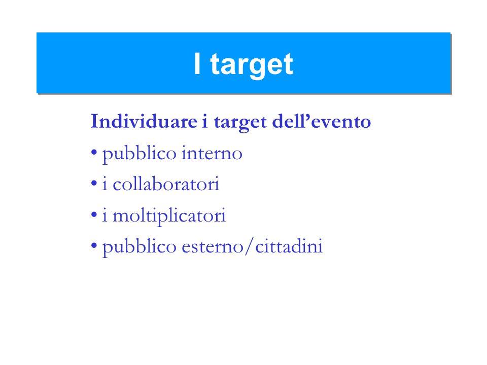 I target Individuare i target dell'evento pubblico interno
