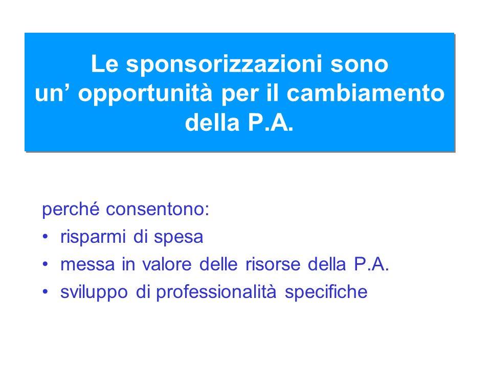 Le sponsorizzazioni sono un' opportunità per il cambiamento della P.A.