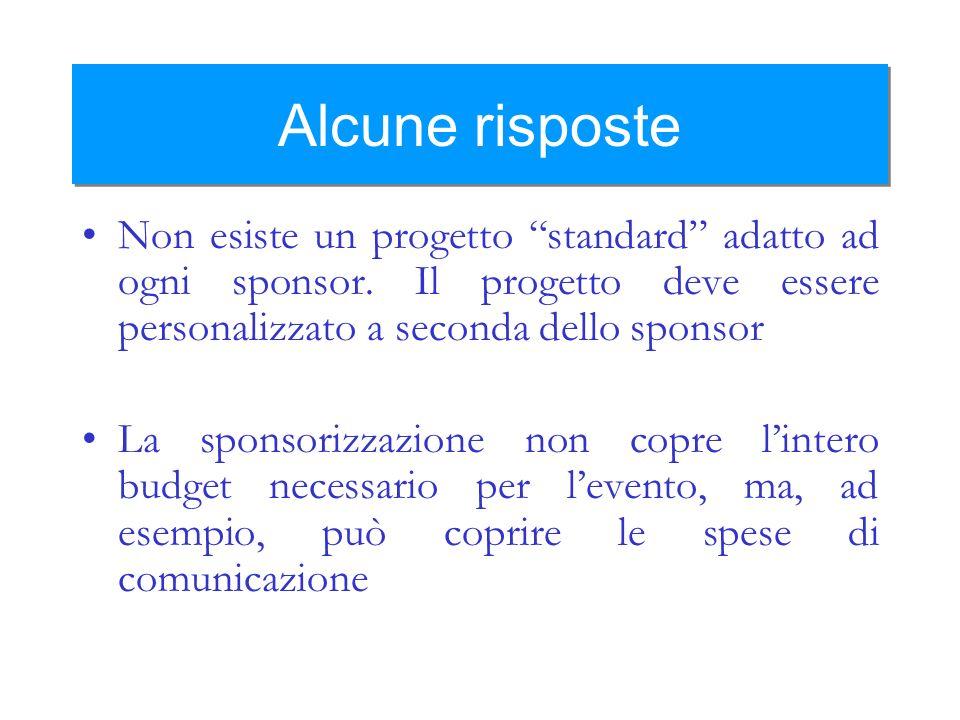 Alcune risposte Non esiste un progetto standard adatto ad ogni sponsor. Il progetto deve essere personalizzato a seconda dello sponsor.