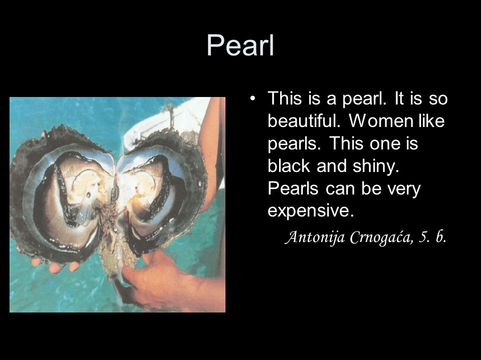 Pearl This is a pearl. It is so beautiful. Women like pearls. This one is black and shiny. Pearls can be very expensive.