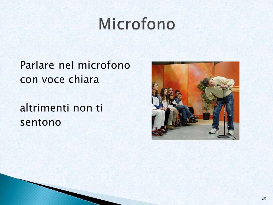 Microfono Parlare nel microfono con voce chiara altrimenti non ti sentono