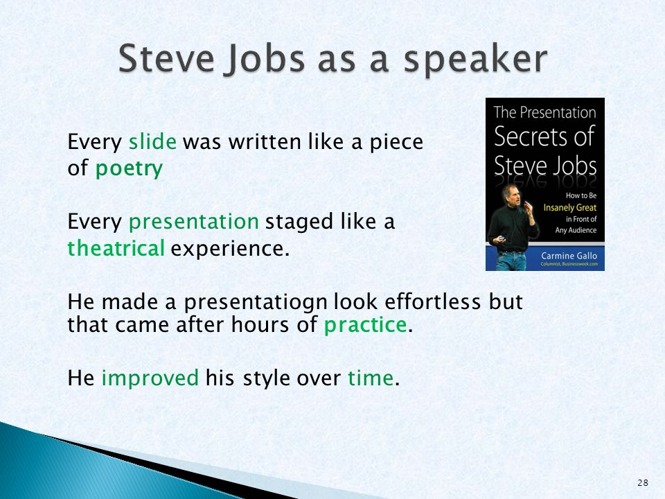 Steve Jobs as a speaker