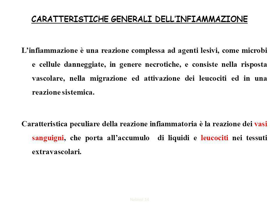 CARATTERISTICHE GENERALI DELL'INFIAMMAZIONE