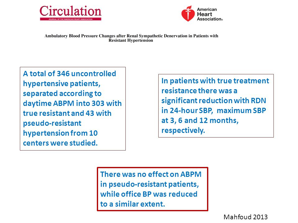 A total of 346 uncontrolled hypertensive patients, separated according to daytime ABPM into 303 with true resistant and 43 with pseudo-resistant hypertension from 10 centers were studied.
