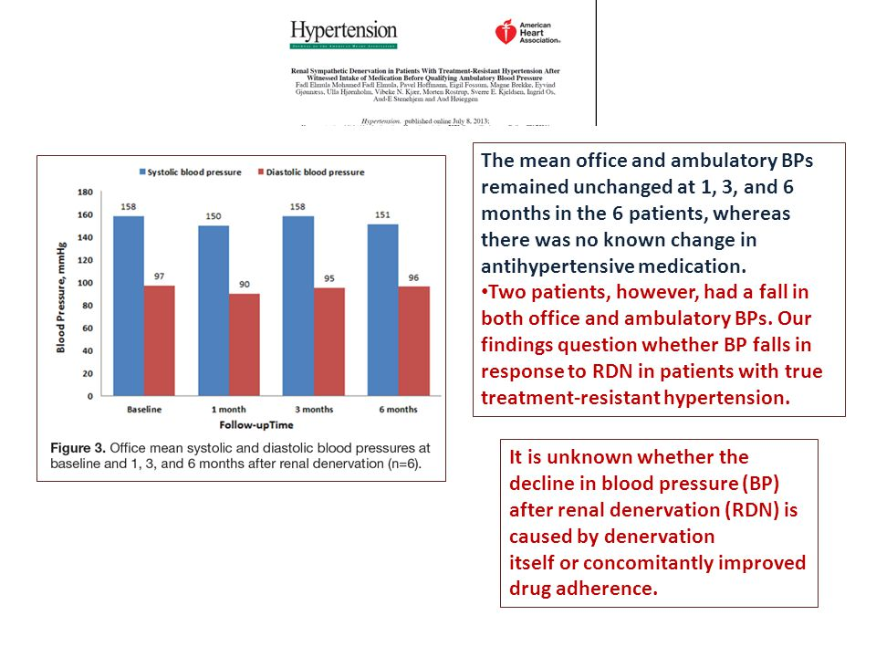 The mean office and ambulatory BPs remained unchanged at 1, 3, and 6 months in the 6 patients, whereas there was no known change in antihypertensive medication.