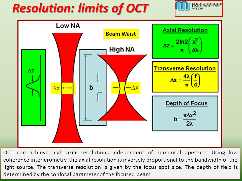 Resolution: limits of OCT