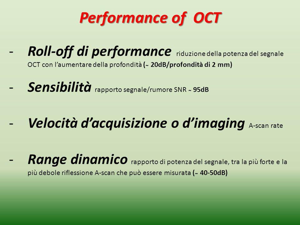 Performance of OCT Roll-off di performance riduzione della potenza del segnale OCT con l'aumentare della profondità ( ̴ 20dB/profondità di 2 mm)