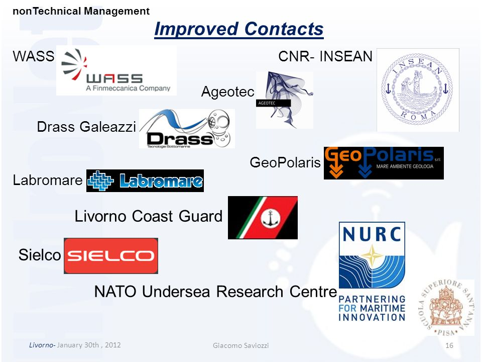Improved Contacts Livorno Coast Guard Sielco