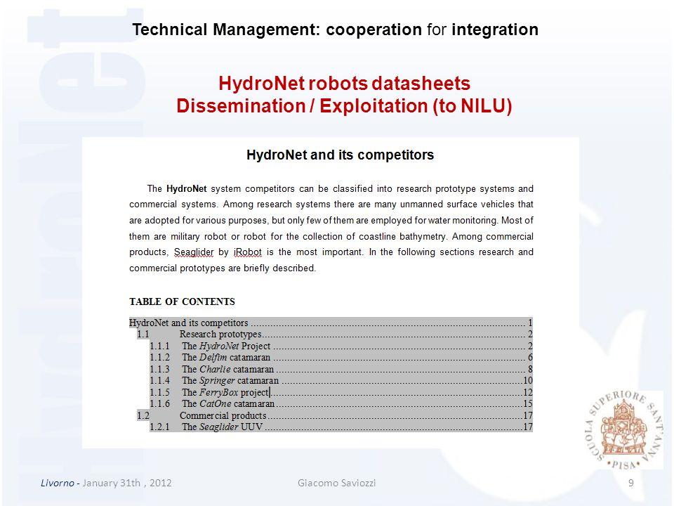HydroNet robots datasheets Dissemination / Exploitation (to NILU)