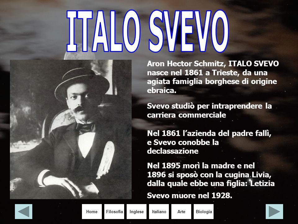 ITALO SVEVO Aron Hector Schmitz, ITALO SVEVO nasce nel 1861 a Trieste, da una agiata famiglia borghese di origine ebraica.