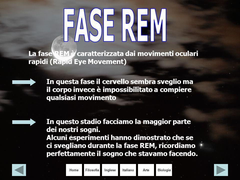 FASE REM La fase REM è caratterizzata dai movimenti oculari rapidi (Rapid Eye Movement)