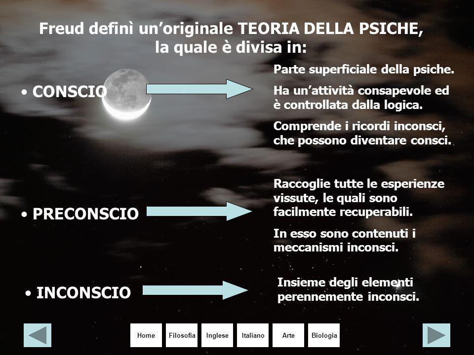 Freud definì un'originale TEORIA DELLA PSICHE, la quale è divisa in:
