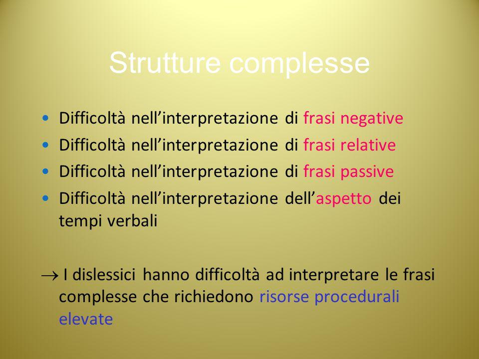Strutture complesse Difficoltà nell'interpretazione di frasi negative