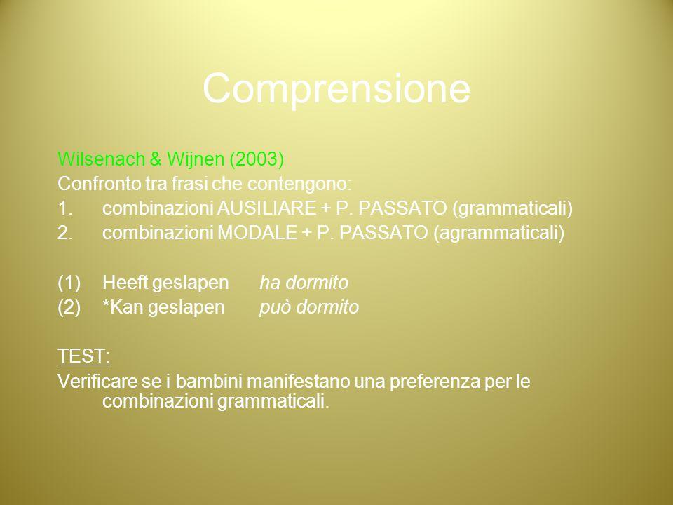 Comprensione Wilsenach & Wijnen (2003)