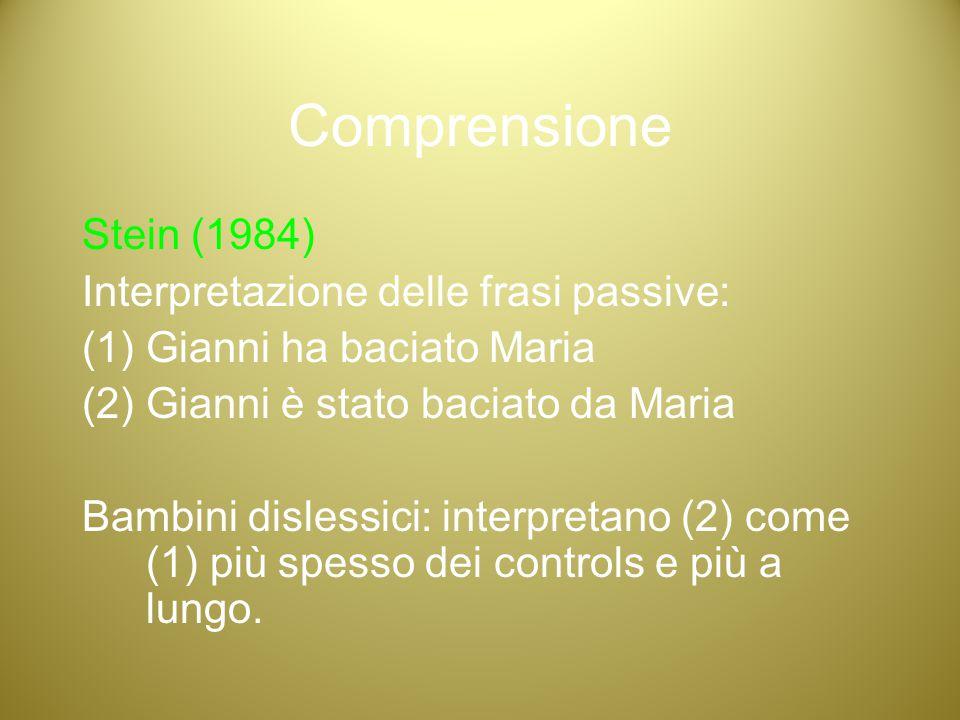 Comprensione Stein (1984) Interpretazione delle frasi passive:
