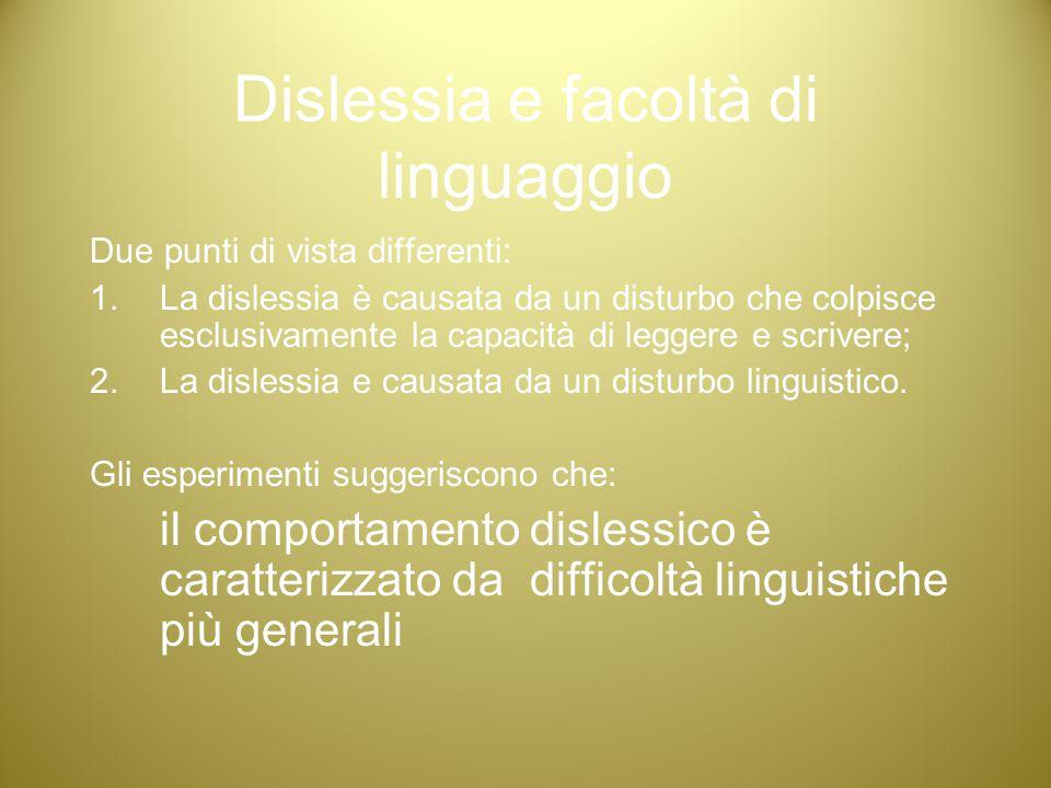 Dislessia e facoltà di linguaggio