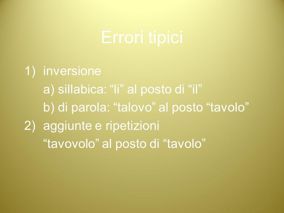 Errori tipici inversione a) sillabica: li al posto di il